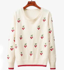 さくらんぼ刺繍カジュアルニットセーター 白