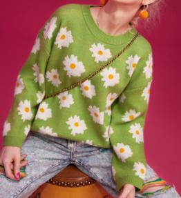 ELFSACK花柄カジュアルニットプルオーバーセーター