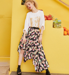 ELFSACK 花柄イレギュラー裾カジュアルミッドカーフスカート