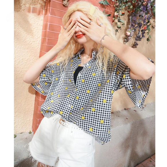 ELFSACK スマイルマークチェックシャツ