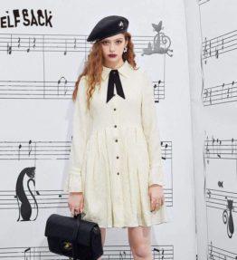 ELFSACK ホワイトビンテージシックシフォンシャツドレス