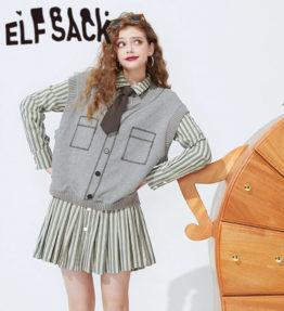 ELFSACK ビンテージストライプシック2in1dドレス